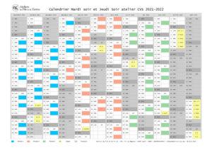 CVS calendrier Mardi soir et Jeudi soir 2021-2022