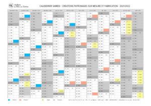 CVS calendrier samedi 2021-2022 Création patronnage sur mesure